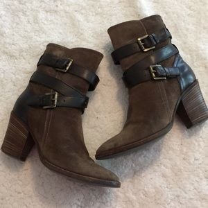 Aquatalia Brown Heeled Boots Criss Cross Strap
